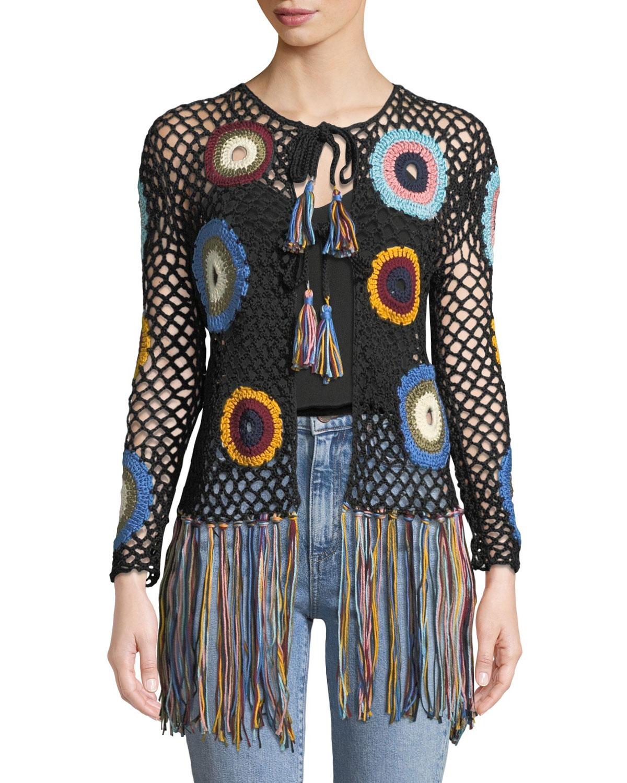 Hand-Crochet Fringe Cardigan