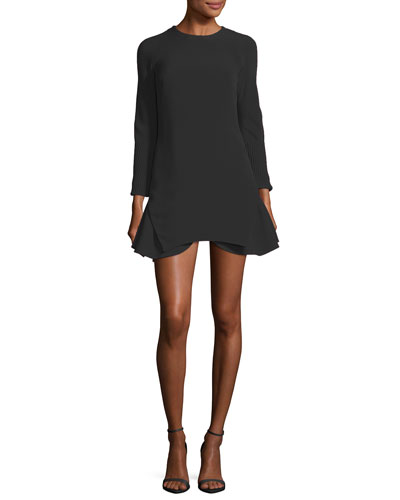 Long-Sleeve Crepe Flounce Cocktail Minidress