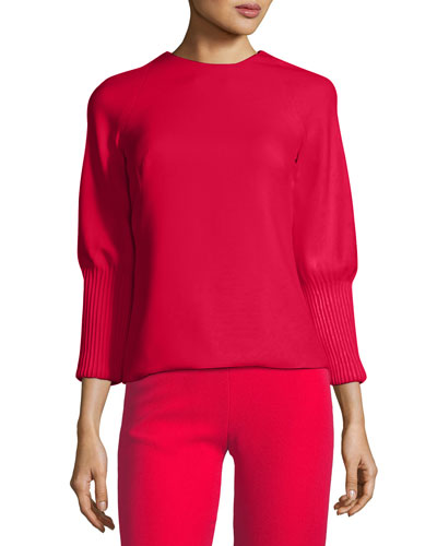 Ribbed-Cuff Crepe Blouse