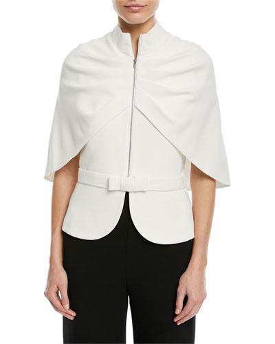 Zip-Front Cape-Sleeve Jacket
