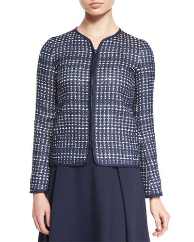 Embroidered Long-Sleeve Jacket, Navy