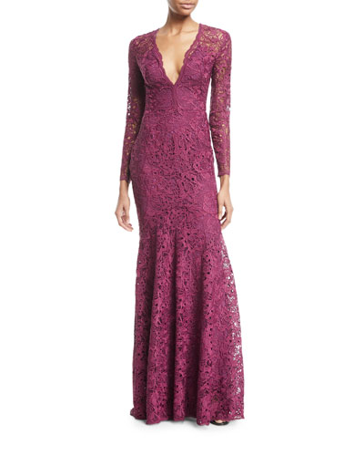 Plunging Long-Sleeve Lace Guipure Evening Gown