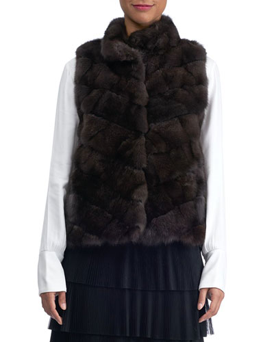 Chevron Sable Fur Vest