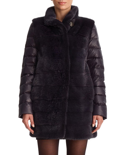Horizontal Mink Stroller Coat with Quilted Back and Sleeves
