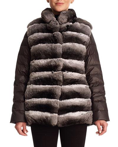 Chinchilla Fur & Silk Two-Piece Down Jacket