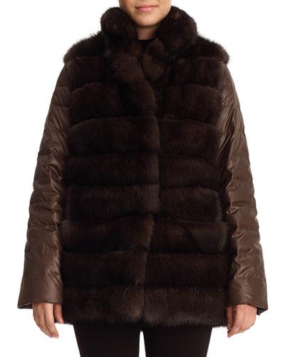 Sable Fur & Silk Two-Piece Down Jacket