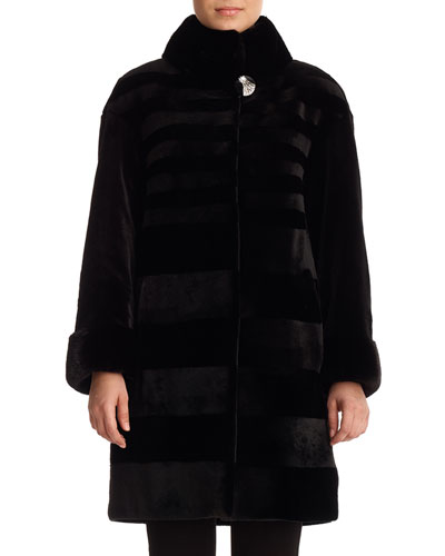 Diagonal Sheared Mink Fur Stroller Coat