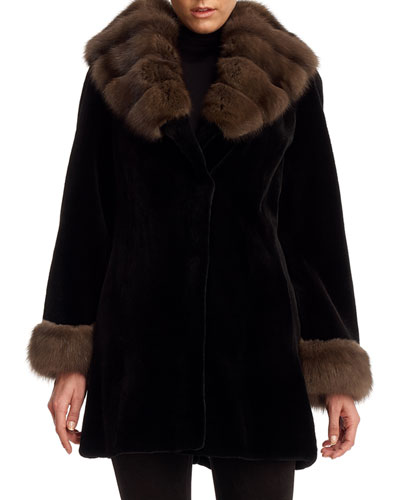 Sheared Mink Fur Stroller Coat with Sable Trim