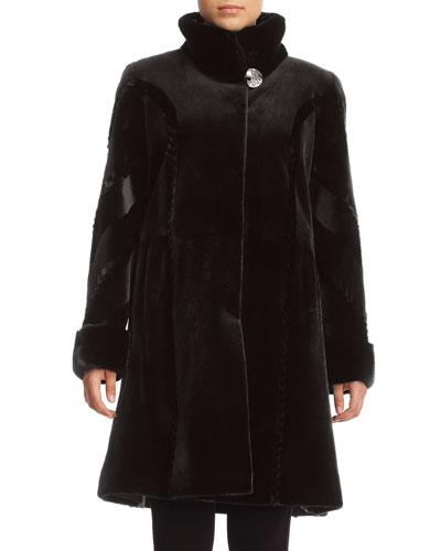 Sheared Mink Fur Reversible Stroller Coat