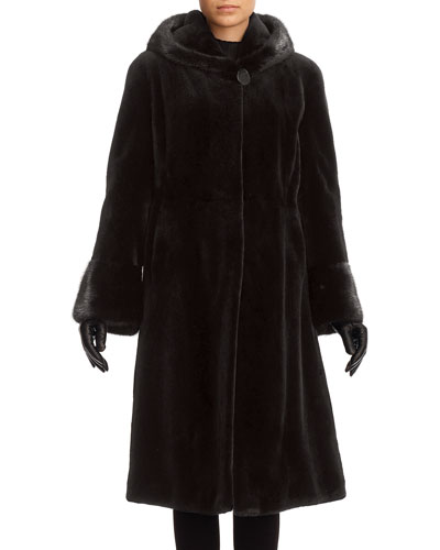 Sheared Mink Hooded Reversible Coat