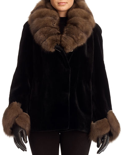 Sheared Mink Fur Jacket with Sable Trim