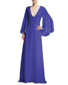 Bell-Sleeve Silk V-Neck Gown