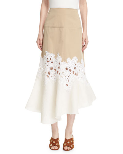Lace-Inset Cotton Twill Midi Skirt