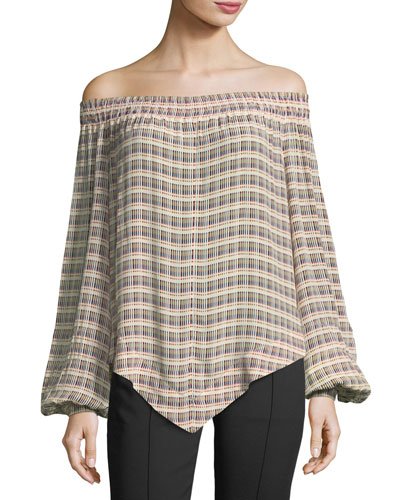 Basketweave-Print Off-the-Shoulder Blouse