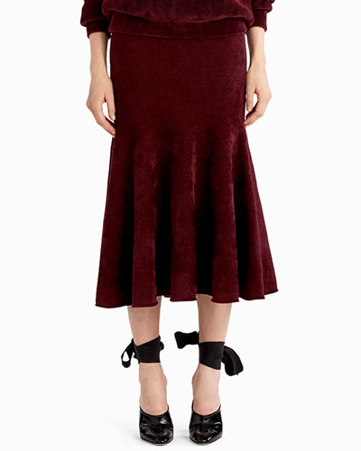 Chenille Velvet Trumpet Midi Skirt