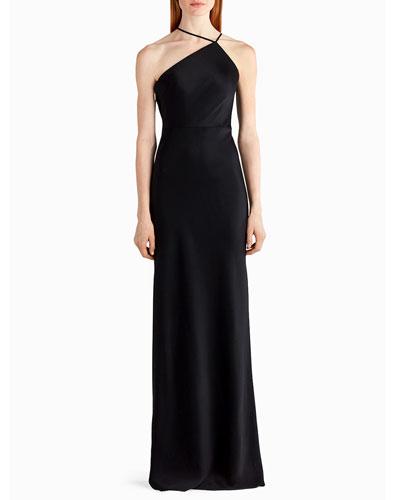 High-Neck Sleeveless Satin Slip Gown