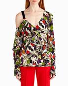 Floral-Print One-Shoulder Blouse