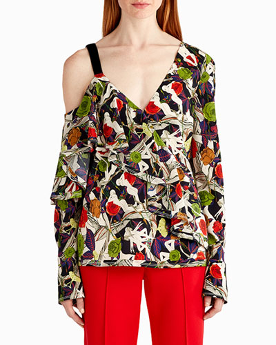 Floral-Print One-Shoulder Blouse
