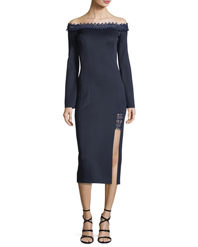 Aguafina Off-the-Shoulder Textured Cocktail Dress w/ Crochet Trim