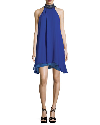 Catarata Halter-Neck Chiffon Tent Dress
