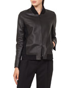 Leather Bomber Jacket with Detachable Hem