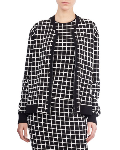 Grid-Pattern Knit Bomber Jacket