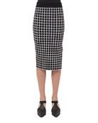 Grid-Print Pencil Skirt