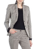 Striped Denim Two-Button Blazer
