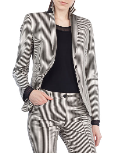 Striped Denim Two-Button Blazer