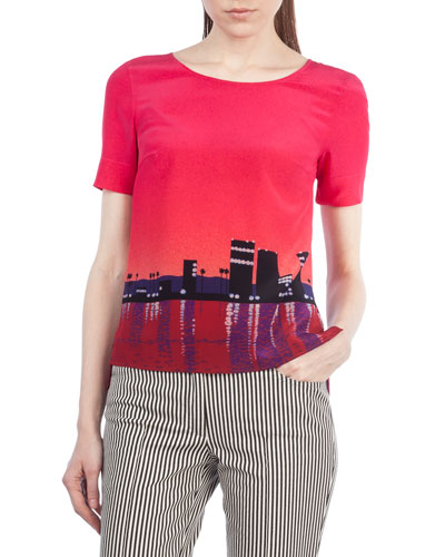 Sunset City Short-Sleeve Top