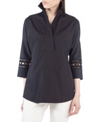 Punto-Sleeve Kimono Blouse