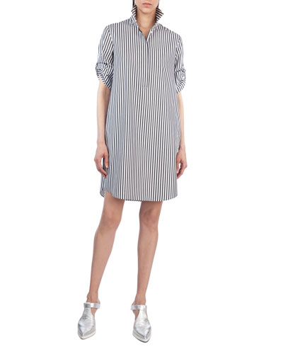 Striped Poplin Tunic Shirtdress