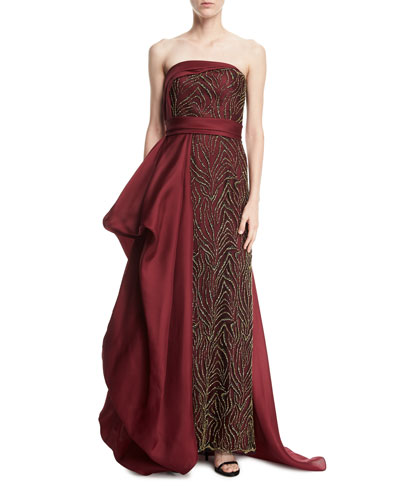 Strapless Beaded Gazar Side-Drape Gown