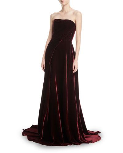 Draped Strapless Velvet Gown