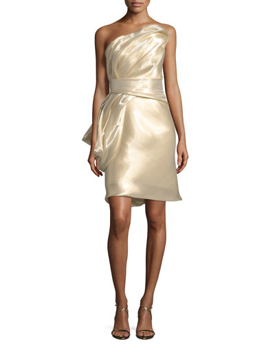 One-Shoulder Ruched Lamé Cocktail Dress
