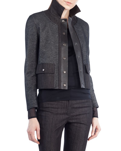 Stand-Collar Snap-Front Short Denim Jacket with Leather Trim