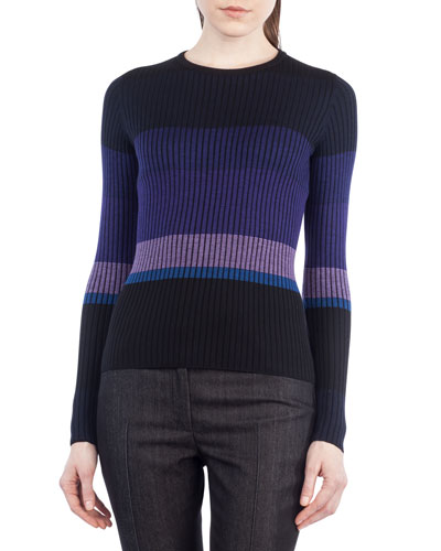 Colorblock Knit Crewneck Sweater