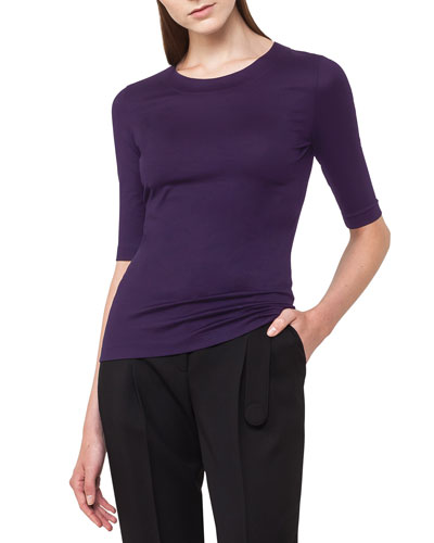 Crewneck Half-Sleeve Stretch-Cotton Tee
