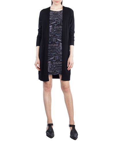 Round-Neck Long-Sleeve Printed Silk-Front Sweaterdress