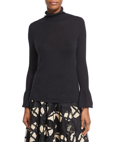 Cashmere Turtleneck Sweater with Bell Cuffs, Black