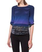 Twilight City Tab-Sleeve Top