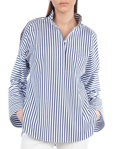 Striped Button-Shoulder Cotton Blouse