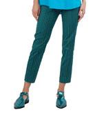 Striped Straight-Leg Cotton-Stretch Pants
