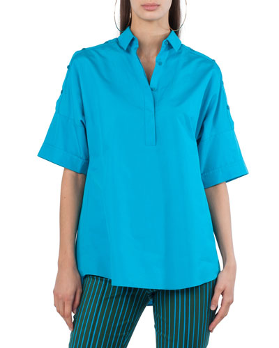 Button-Placket Elbow-Sleeve Cotton Blouse with Shoulder Detail
