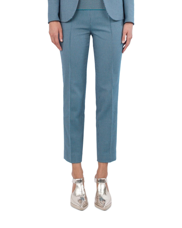 Cotton-Stretch Jacquard Woven Straight-Leg Pants