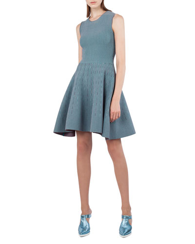 Sleeveless Jacquard-Knit Fit-and-Flare Dress