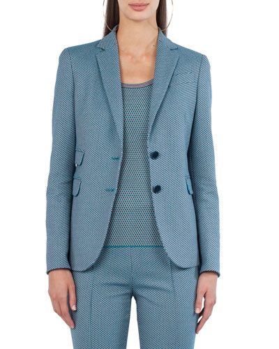 Two-Button Cotton-Stretch Jacquard Blazer