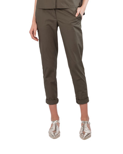 Straight-Leg Cropped Chino Pants