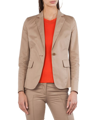 Stretch-Cotton One-Button Jacket