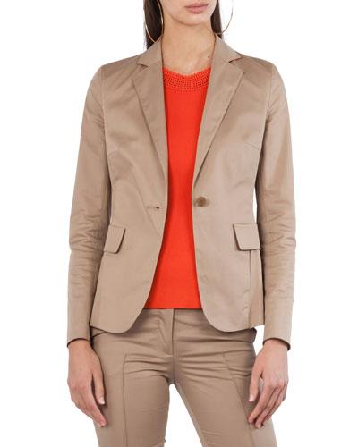 Stretch-Cotton One-Button Jacket